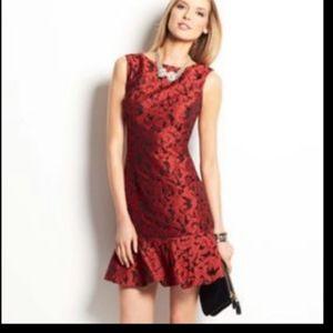 Ann Taylor FLOUNCE HEM Jaquard Red COCKTAIL Dress